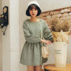 11.STREET - Long-Sleeve Floral Linen Dress