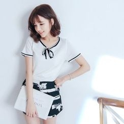 Tokyo Fashion - Bow Knit Short-Sleeve Top
