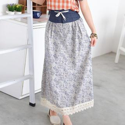 59 Seconds - Drawstring Floral Print Maxi Skirt