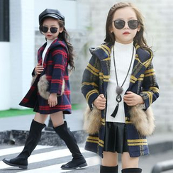 Pegasus - Kids Plaid Faux Fur Knit Coat
