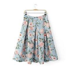 Chicsense - Pleated Floral Midi Skirt