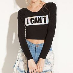 Richcoco - Letter Cropped Long-Sleeve Top
