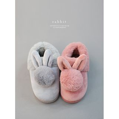 STYLEBYYAM - Faux-Fur Trim Slippers