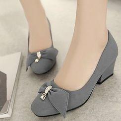 佳美 - 粗跟蝴蝶結裝飾高跟鞋