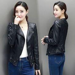 Romantica - Faux-Leather Side-Zip Jacket