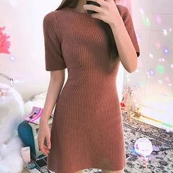 chuu - Short-Sleeve Wool Blend Knit A-Line Dress