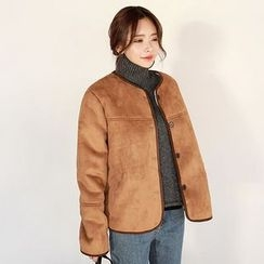 Seoul Fashion - Round-Neck Faux-Shearling Jacket