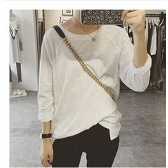 ALIN STYLE - Plain Long-Sleeve T-Shirt