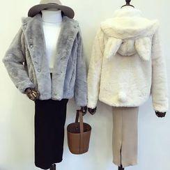 DIYI - Furry Rabbit Ear Hooded Faux-Fur Jacket