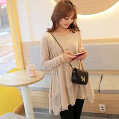 CLICK - Long-Sleeved Round-Neck Chiffon Hem Top