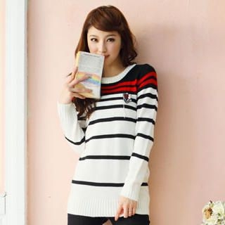 Tokyo Fashion - Brooch-Accent Striped Sweater