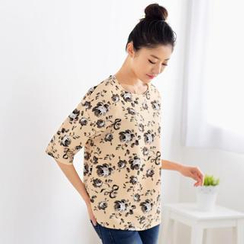 59 Seconds - Elbow-Sleeve Floral Top