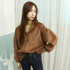 Dodostyle - Open-Placket Balloon-Sleeve Corduroy Top