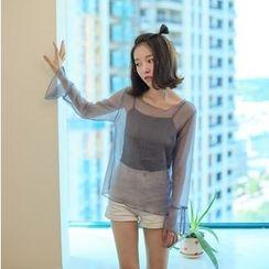 Bloombloom - Sheer Long-Sleeve Top