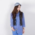 miss panda - Zip-Front Denim Vest