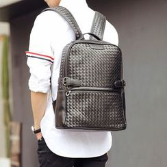 BagBuzz - Woven Faux Leather Backpack