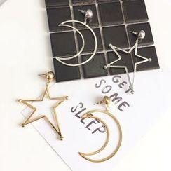 FROME - 新月及星星不對稱耳環