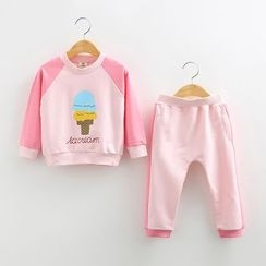 Seashells Kids - Kids Set: Ice Cream Print Raglan Pullover + Sweatpants