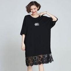 Flore - Elbow-Sleeve Lace-Hem T-Shirt Dress