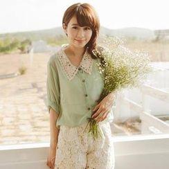 Tokyo Fashion - Set: Crochet-Collar Blouse + Tank Top