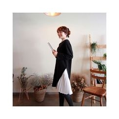 LEELIN - Pleated-Panel T-Shirt Dress