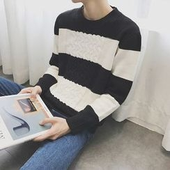 DragonRoad - Striped Cable Knit Sweater