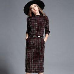 Diosa - 3/4-Sleeve Plaid Midi Dress
