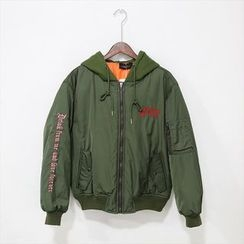 Mr. Cai - Embroidered Hooded Jacket