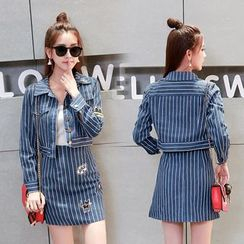 Sienne - Set: Striped Denim Jacket + Striped A-Line Denim Skirt