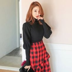 PPGIRL - Turtle-Neck Puff-Sleeve Knit Top