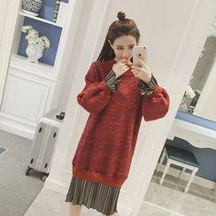 Eva Fashion - Chiffon Panel Knit Dress