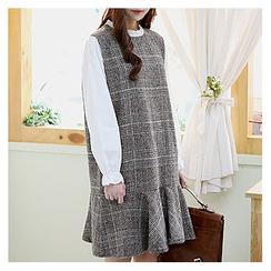 Sechuna - Frill-Neck Ruffle-Hem Glen-Check Dress