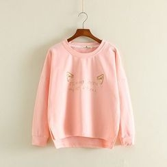 Mushi - Cat Ear Embroidered Pullover
