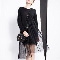 Halona - Long-Sleeve Mesh-Panel Dress