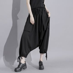Sonne - Drawstring Low-Crotch Harem Pants