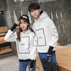 Je T'aime - Couple Matching Letter Panel Hoodie