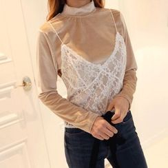 DABAGIRL - Set: Lace Bustier Top + Mock-Neck Velvet Top