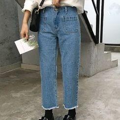 Dute - 散邊寬身牛仔褲