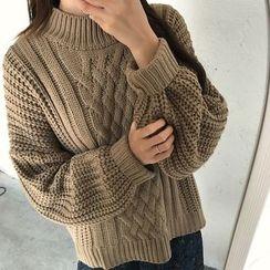 Dute - 小高領麻花針織毛衣