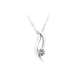 BELEC - 925 Sterling Silver Pendant with White Cubic Zircon and Necklace