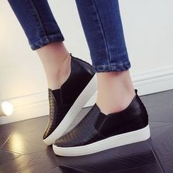 AXIM - Hidden Wedge Faux Leather Slip-Ons
