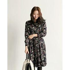 UPTOWNHOLIC - Mandarin-Collar Floral Print Dress