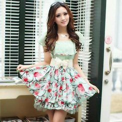 JVL - Floral Print Layered Dress (Belt not included)