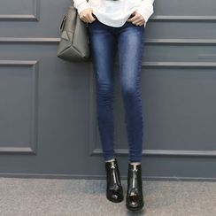 DANI LOVE - Brushed-Fleece Lined Coated Skinny Jeans