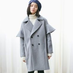 Woodie - Double-breasted Ruffle Wool Coat