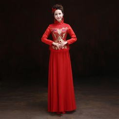 ZAKSKI - Furry Trim Cheongsam Evening Gown