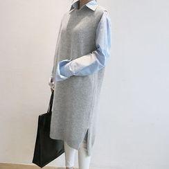 NANING9 - Sleeveless Wool Blend Knit Long Dress