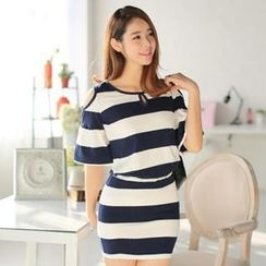 Hanee - Set: Cutout-Shoulder Striped Top + Miniskirt