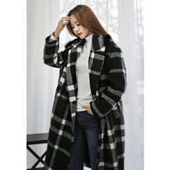 REDOPIN - Faux-Fur Checked Coat