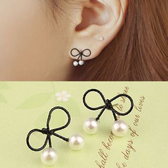 Coolgirl - Faux Pearl Ribbon Earrings